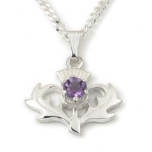 Thistle Pendant with Amethyst Stone